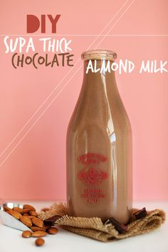 Super Thick Chocolate Almond Milk i didn't know you could make this at home! ohmygosh, chocolate almond milk is like my favorite drink ever! Baker Recipes, Milk Recipes, Whole Food Recipes, Yummy Drinks, Healthy Drinks, Healthy Snacks, Healthy Recipes, Juice Smoothie, Smoothie Drinks