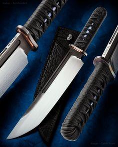 maker: Ben Tendick (BRT Bladeworks) website: brtbladeworks.com model: Gojira Bowie material: CPM 3V handle: Tsuka Ido, black Timascus menuki features: Zirc belt stud, shark & bison sheath   #calebroyerphotography #imagecalebroyer #knife #knifemaking #knives #customknives #handmadeknives #knifecommunity #handmade #knifeart #knifepics