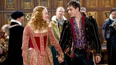 Elizabeth I and (Anne-Marie Duff) and Robert Dudley, Earl of Leicester (Tom Hardy )