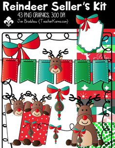 Reindeer Christmas Seller's Kit clipart.  These 43 graphics are perfect for TpT sellers and classroom teachers.  Commercial use is ok.  TeacherKarma.com