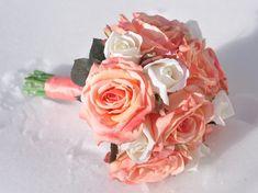 Coral and Ivory Rose Silk Wedding Flower Bridal Bouquet #weddingbouquet #wedding #flowers by @hollysflowers93, www.hollysweddingflowers.com or www.etsy.com/shop/Hollysflowershoppe