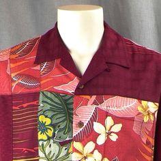 Tommy Bahama Hawaiian Shirt Medium Burgundy Patchwork Hibiscus Floral Plumeria #TommyBahama #Hawaiian