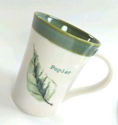 Starbucks Poplar Leaf Coffee Tea Mug Cup 2007 Cream Sage Green 13 oz tall #StarbucksCoffeeCompany #PoplarTreeLeafSageGreenCreamcolors