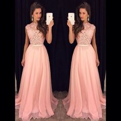 Pink Lace Long Prom Dress, Elegant High Neck Prom Dress, Formal Chiffon Evening Dresses, Prom Dresses 2016 New Fashion