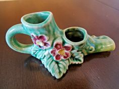 Christmas Candle Holder, Green  Floral Embossed Porcelain  Double Candle Holder