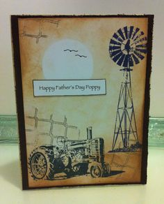 Father's day country tractor & windmill Masculine Birthday Cards, Birthday Cards For Men, Masculine Cards, Love Scrapbook, Scrapbook Cards, Scrapbooking, Xmas Cards, Greeting Cards, Male Birthday