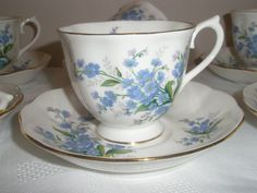 Reduced 1930's Royal Albert Forget Me Not Duo 6 by KaySueGems