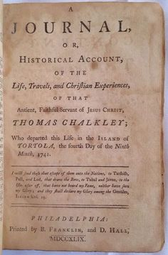 1749 Benjamin Franklin Imprint First American Edition Works Of Chalkley Quaker