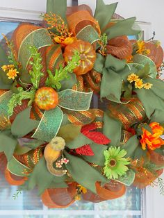 Fall Deco Mesh Wreath Door or Wall Wreath by PataylaFloralDesigns, $59.00