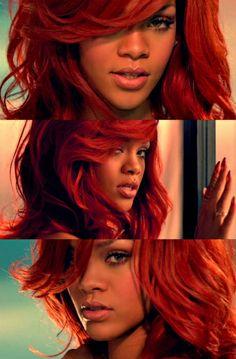 Rihanna Red Hair ❤️ so pretty! (California King Bed Music Video)