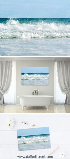 Beach Wall Décor - Coastal Wall Art for your Rustic Beach Décor - A gentle wave casts a spray of saltwater on the Gulf of Mexico. These soft blue tones will add the perfect touch of freshness to any wall in your home!