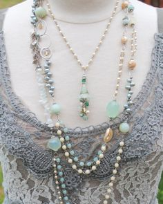 Beautiful necklace by Anne Vaughan Designs inspired by fashions from La De Dah in Roanoke, VA.