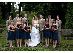 Navy Bridesmaid Dresses Brown Tan Groomsmen Orange Flowers