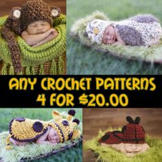 Crochet Pattern Bundle  Any 4 Patterns for 20.00 door calleighsclips, $20.00