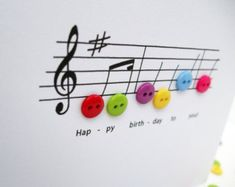 Happy Birthday Music Card - Birthday Card with Button Notes - Paper Handmade Greeting Card - Etsy UK by Nikelcards on Etsy