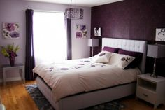 Dark Purple Accent Wall With Romantic Floral Wall Art For Teen Bedroom Decor