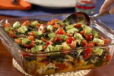 Southwestern Chicken Casserole - This diabetic-friendly casserole recipe is a hit at dinner time. With chicken, avocado, and more, this healthy recipe will make you feel good about taking seconds. Healthy Chicken Casserole, Ranch Chicken Casserole, Healthy Casserole Recipes, Chicken Soup Recipes, Healthy Recipes, Diabetic Recipes, Diabetic Foods, Casserole Dishes, Diabetic Cake