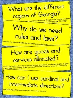 2nd Grade Social Studies Essential Question Cards for Dispay
