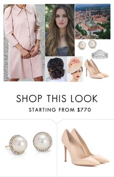 """""""Attending Palm Sunday Mass at the Zagreb Cathedral"""" by hrh-amelia-of-croatia ❤ liked on Polyvore featuring xO Design, Blue Nile, Gianvito Rossi and Modern Bride"""