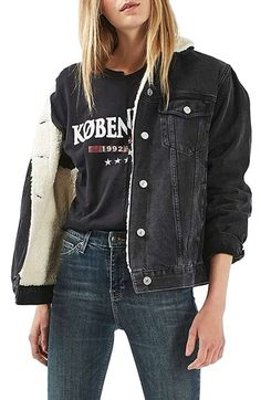 Topshop Moto Borg Lined Denim Jacket at Nordstrom.com. Staying warm can still be totally cool in an oversized washed denim jacket lined with soft, snow-white faux-fur borg.
