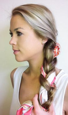 Scarf woven into braid