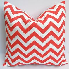 coral chevron pillow {for bedroom}