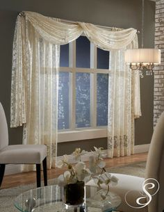 Softline Home Fashions Palazzo Scroll drapes with scarf valance – Hazir Site Living Room Drapes, Bedroom Drapes, Home Curtains, Living Room Decor, Bedroom Decor, Grommet Curtains, Kitchen Curtains, Drapery, Dining Room
