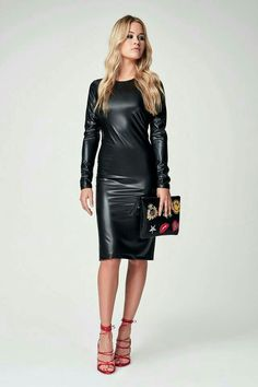 Black faux leather bodycon dress and strappy heels