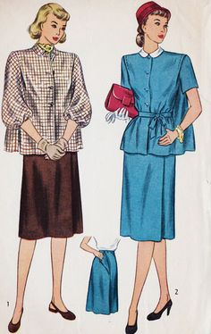 1940s Misses Two Piece Maternity Dress