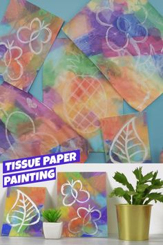 Paper Painting – A Fun DIY Paper Craft Add creativity to your little one's drawings by adding tissue paper and water! A great indoor activity to beat those boredom blues! Toddler Crafts, Preschool Crafts, Diy Crafts For Kids, Easy Crafts, Children's Arts And Crafts, Process Art Preschool, Preschool Painting, Art And Craft, Kindergarten Art Projects
