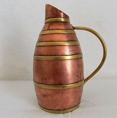 Small French Vintage Copper & Brass Cider or Water Jug, Rustic and…
