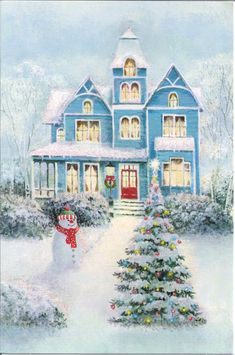 Good Evening ladies, thank you for your pretty board today. Let's finish Christmas with a BLUE CHRISTMAS COTTAGE. Wishing you A Very Merry Christmas from my home to yours. Vintage Christmas Images, Victorian Christmas, Retro Christmas, Christmas Pictures, Victorian Houses, White Christmas, Christmas Scenery, Christmas Past, Christmas Greetings