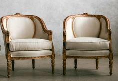 One of a Kind Vintage Louis XV French Style Shabby Linen Bergeres Pair. FrenchGardenHouse.com