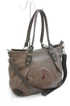 Borsa Donna Shopping con Tracolla Greenwich Polo Club Art040-8A Ecopelle Marrone