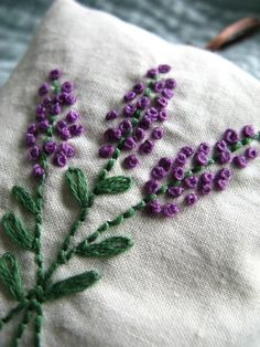 Lavender Sachet - Hand Embroidered Flowers
