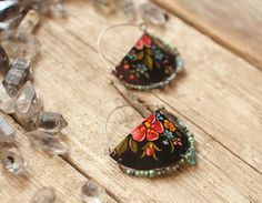 artisan floral vintage tin shield earrings with agate labradorite turquoise seed beads Nearly Lost Jewelry