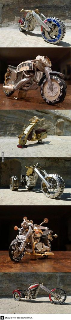 Motorcycles made out of recycled watches - well this is DIY deconstructed jewelry - AWESOME!