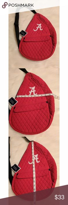 Alabama Collegiate Bag Brand new with tags! This sling backpack is a great way to show off your team pride. With quilted fabric, an adjustable strap, a small exterior pocket and its large main compartment, it offers plenty​of space for you. Smoke-free home.  Bundle your likes for a personalized, no obligation offer, or, use the offer button and submit your own! Collegiate Collection Bags Backpacks
