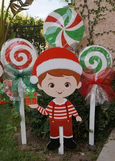 Christmas Yard Art Boy Elf Cut Out Character Christmas Yard Art, Christmas Yard Decorations, Christmas Wood Crafts, Decorating With Christmas Lights, Farmhouse Christmas Decor, Rustic Christmas, Holiday Decor, Lollipop Decorations, Amazing
