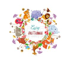 Goodbye summer. Hello autumn with animals ground round background royalty-free stock vector art