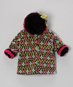 d32c8c3572366 Take a look at this Charcoal Fair Isle Hooded Swing Coat - Infant by Corky  &