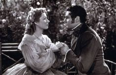 Greer Garson and Laurence Olivier as Elizabeth and Darcy in 1940 - My favorite version of Pride and Prejudice of all time.... <3 The epitome of romance. :')
