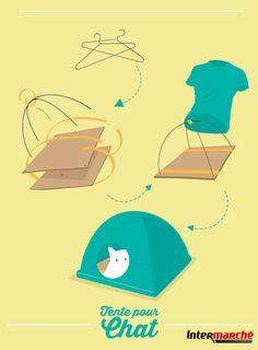 #Astuce : construire une tente pour votre chat. 1) Récupérer 2 vieux cintres et couper la partie destinée à accrocher le cintre. 2) Plier les deux cintres pour former 2 arcs de cercle. 3) Scotcher 2 plaques de carton et percer des petits trous aux quatre coins. 4) Assembler les deux cintres en croix à l'aide de ruban adhésif. 5) Faire passer les cintres dans les trous percés auparavant et replier les extrémités. 6) Envelopper le cadre ainsi crée avec un large t-shirt.