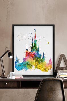 Acuarela de Castillo de Cenicienta impresión por iPrintPoster