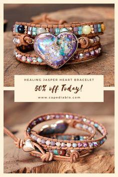 Diy Bracelets Video, Handmade Bracelets, Beaded Bracelets, Heart Bracelet, Stone Bracelet, Bracelet Making, Jewelry Making, Jasper Stone, Hippie Jewelry
