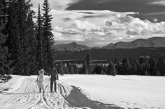On cross country skis