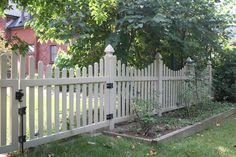 "Willowbrook Picket Fence: Scalloped style, good neighbor vinyl picket fence with 3"" wide pickets. Available heights range from 36"" to 72"", and standard panel width is 72"". Dog ear picket caps are standard; spade caps are available upon request. Assorted colors offered, including: White, Sandalwood, Adobe, Mocha, Honey Maple and Green Teak. Looking for something a bit different? This fence can be customized to your unique needs!"