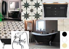 Pandora Strange world: Chantier / Salle de bain 1 Noir et blanc Clawfoot Bathtub, Pandora, Bathroom, Oval Mirror, Washroom, Full Bath, Bath, Bathrooms