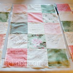 Quilt Square Guest Book Guests signed fabric squares Caitlin sewed into small pieces of a quilt before the wedding. Quilt Guest Books, Book Quilt, Trendy Wedding, Our Wedding, Wedding Gifts, Wedding Ideas, Wedding Bells, Wedding Stuff, Wedding Souvenir