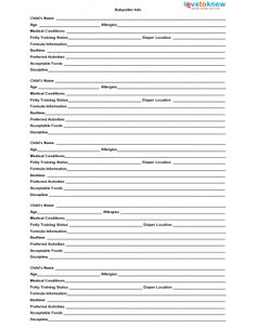 Babysitter Forms Fillable PDF | For the Home | Pinterest ...